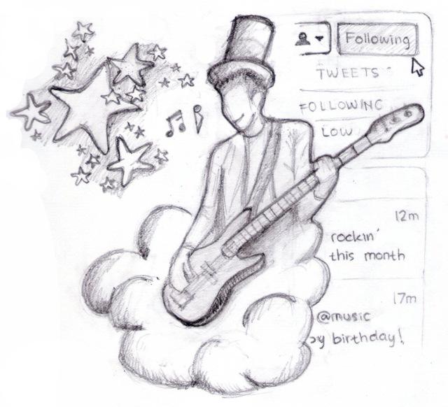 illustrasi 'boy in a rock n roll band'